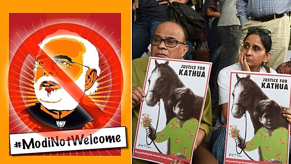 Poster for protest planned against PM Modi in London on April 18; File photo of people in Delhi taking part in 'Not In My Name' protest against the Kathua and Unnao rape cases, on April 15 (right); Representative image