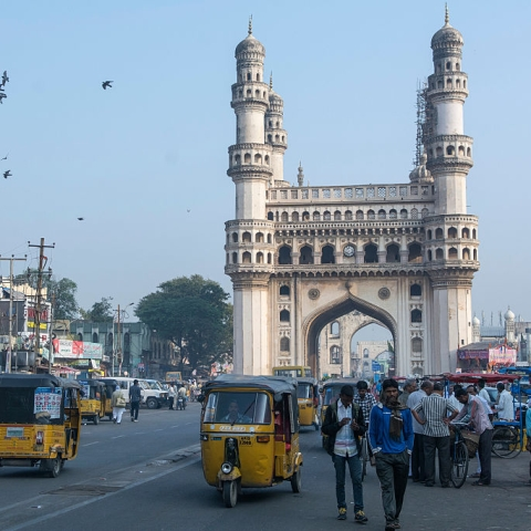 File photo of Hyderabad's iconic Charminar (Photo by Thierry Falise/LightRocket via Getty Images)