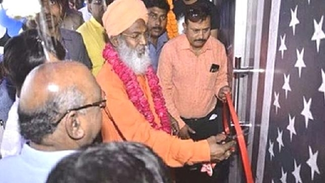 Unnao BJP MP Sakshi Maharaj inaugurating a night club in Aliganj, Lucknow, Uttar Pradesh on Sunday, April 15