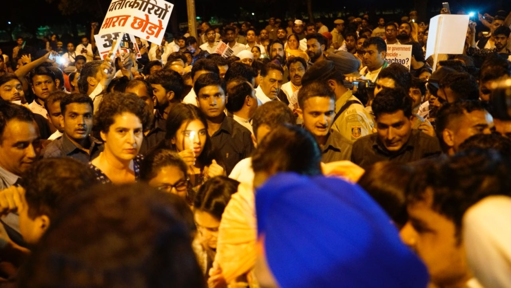 Priyanka Gandhi at the Congress-led midnight candlelight vigil at India Gate in Delhi to protest incidents of rape in Unnao, Uttar Pradesh and Kathua, Jammu and Kashmir