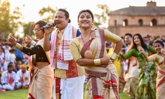 Assamese actress Amrita Gogoi along with singer Manas Robin performs during Rongali Bihu celebrations at historic Rangghar in Sivasagar, Assam.