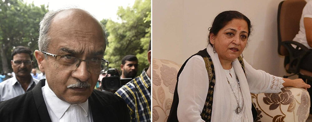 File photos of senior lawyer Prashant Bhushan and Madhu Kishwar
