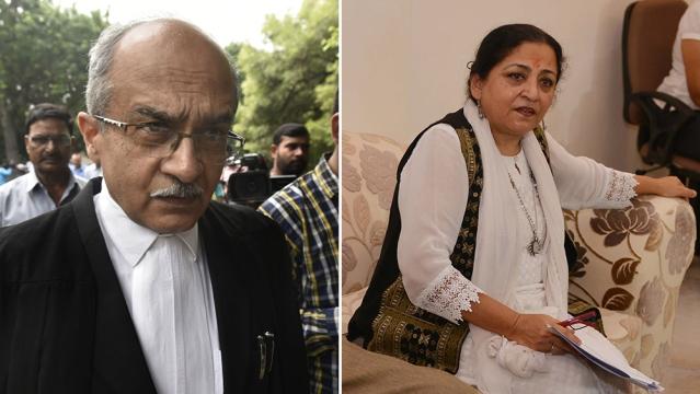 File photos of senior lawyer Prashant Bhushan and Madhu Kishwar