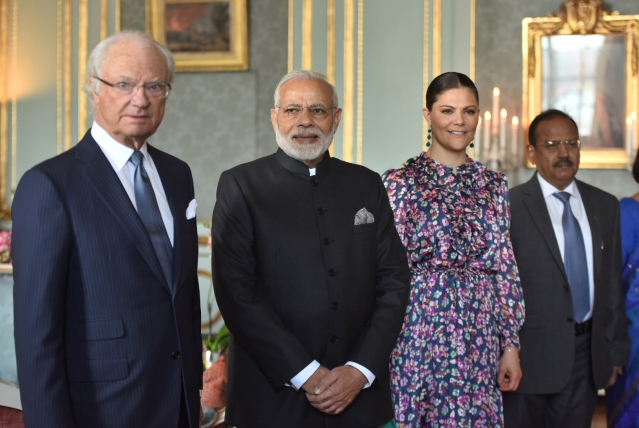 Prime Minister Narendra Modi meets Swedish King His Majesty Carl XVI Gustaf, in Stockholm, Sweden