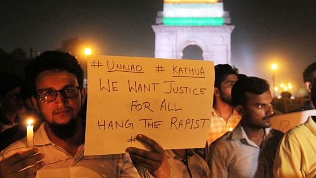 File photo of people protesting in Delhi against the brutal rape and murder of an 8 year old child in Kathua, Jammu and Kashmir