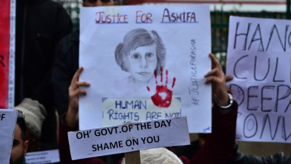 File photo of a protest demanding justice for an 8-year-old Bakerwal nomad girl who was brutally raped and murdered at Rasana village near Kathua, in Jammu region of J&K
