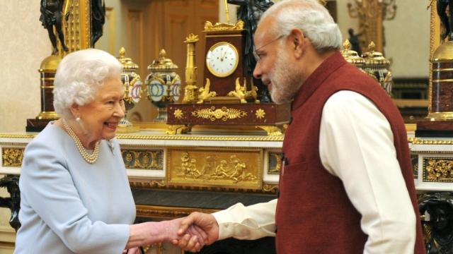 File photo of PM Modi with Queen Elizabeth II