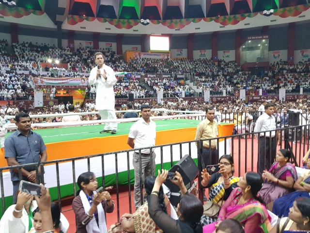 Rahul Gandhi at Panchayati Raj Sammelan Indoor Stadium in Raipur , Chhattisgarh
