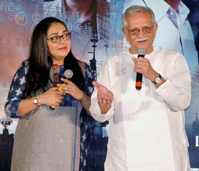 Bollywood lyricist Gulzar with filmmaker and daughter Meghna Gulzar during an event to  celebrate the success of the film Raazi in Mumbai.