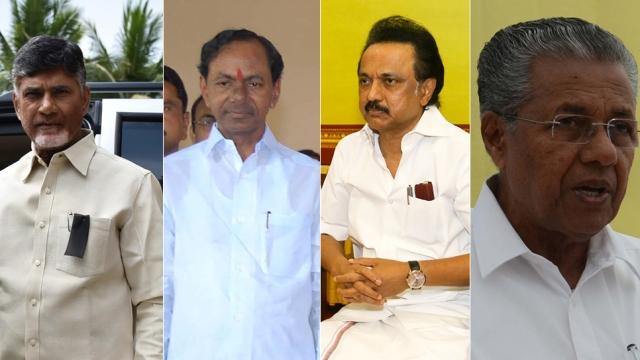 L-R: Andhra Pradesh Chief Minister N Chandrababu Naidu; Telangana Chief Minister K Chandrasekhar Rao; DMK working president MK Stalin; Kerala Chief Minister Pinarayi Vijayan