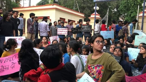 BHU students protest, demand  chief proctor take back FIR and resign
