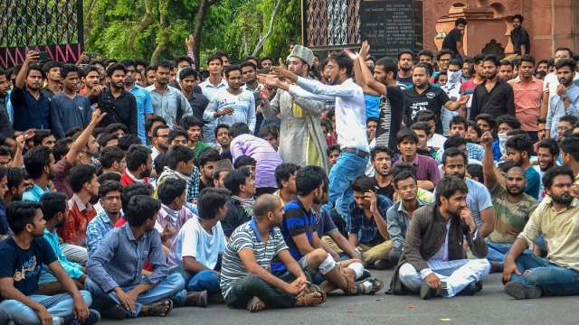 Students protest at the Aligarh Muslim University