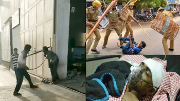 (Clockwise from left) A Dalit being beaten to death in Rajkot; a protester being beater by the police in Tuticorin; a man who was lynched by a mob for allegedly killing cattle