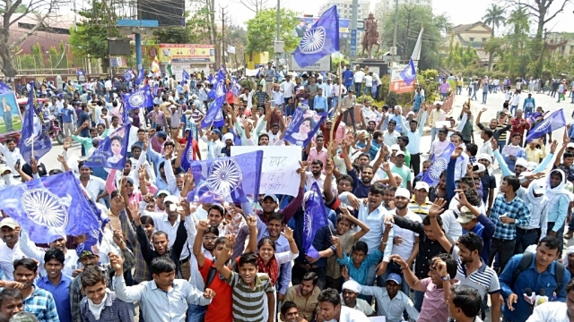 File photo of a protest against the dilution of the SC/ST Prevention of Atrocities Act in Allahabad, Uttar Pradesh. Representative image