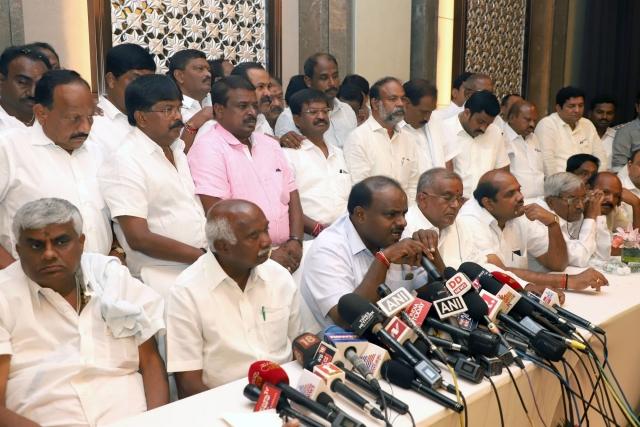 Janata Dal-Secular (JD-S) leader H.D. Kumaraswamy addresses a press conference after holding the legislature party meeting in Bengaluru.