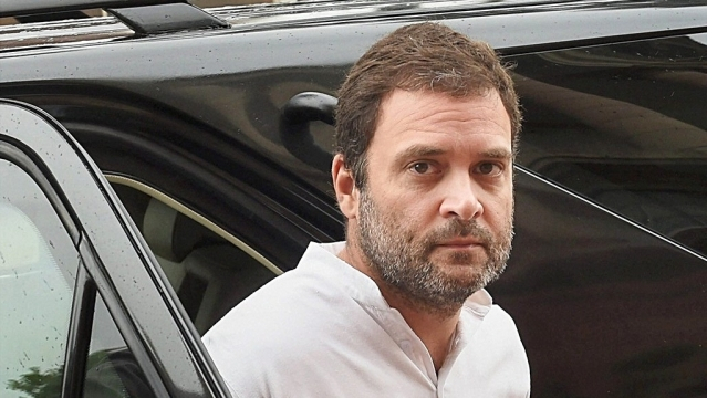 Congress Vice President Rahul Gandhi arrives at Parliament in New Delhi on Thursday