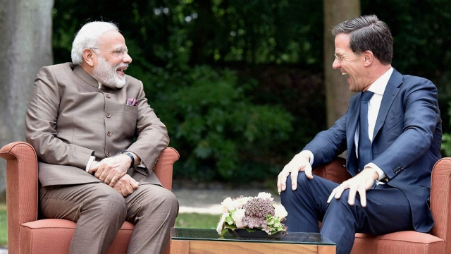 Prime Minister Narendra Modi with the PM of the Netherlands, Mark Rutte, during the Indian leader's visit to the European country in June last year (file photo)
