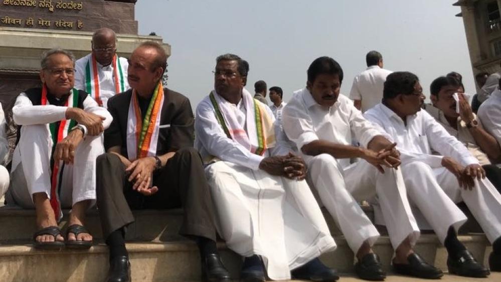 File photo of oppposition leaders protesting outside Karnataka Vidhana Soudha against the swearing-in of B.S. Yeddyurappa as Karnataka CM
