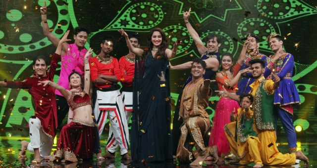 "Actress Madhuri Dixit Nene on the sets of dance reality show ""High Fever Dance Ka Naya Tevar"" in Mumbai."