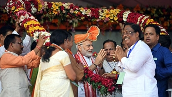 Prime Minister Narendra Modi at a large rally in Cuttack, Odisha on May 26