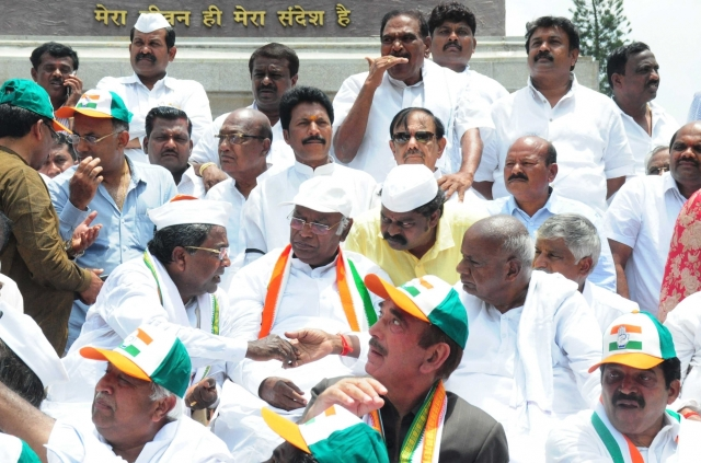 JD(S)  chief and former PM HD Deve Gowda and Congress leaders Ghulam Nabi Azad, Mallikarjun Kharge and Siddaramaiah at Vidhan Soudha, Bengaluru during a sit-in demonstration organised jointly by JD-S and Congress to protest against B.S. Yeddyurappa's swearing-in as the Karnataka Chief Minister.