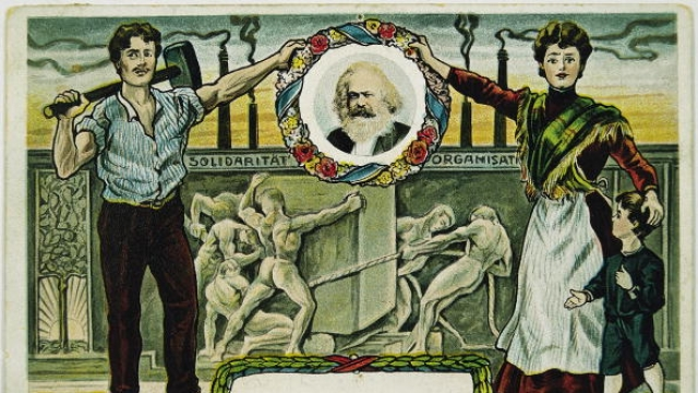 Social-democratic picture postcard with a portrait of Karl Marx. Colour Lithography. Around 1895