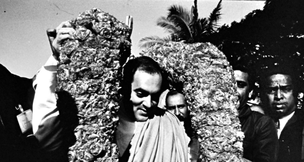 Rajiv Gandhi after he was elected leader of the Congress party in New Delhi