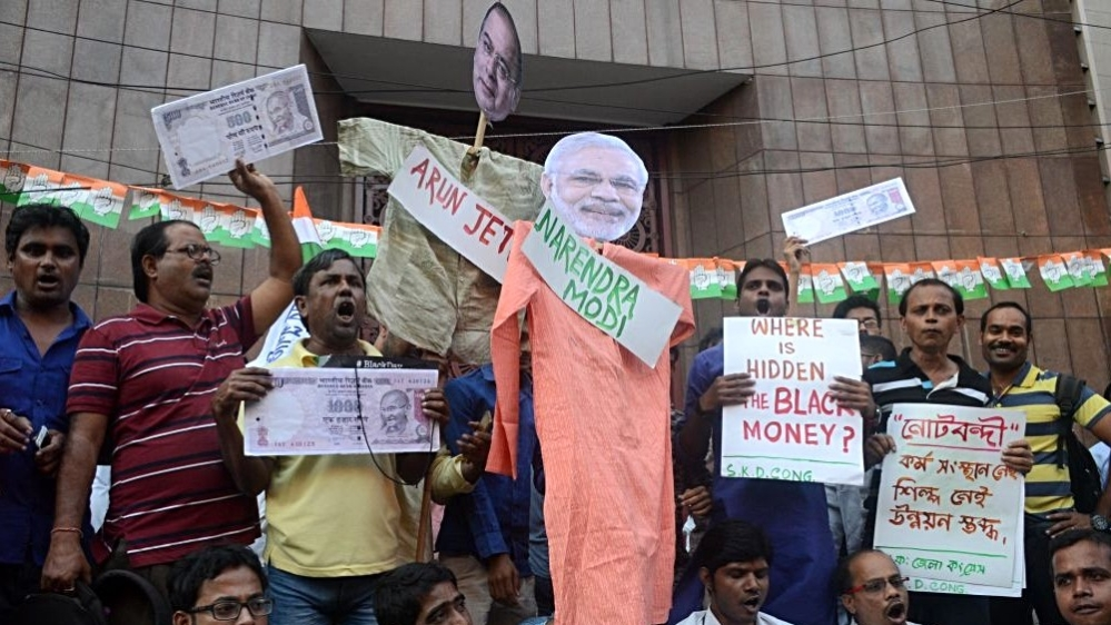 Trinamool Congress activists protest against the central government, Prime Minister Narendra Modi and Finance Minister Arun Jaitley. Representative image