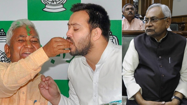 RJD leader Tejashwi Yadav is offered sweets by RJD State President Ramchandra Purbey to celebrate the party's win in Jokihat assembly bypoll, in Patna on Thursday, May 31, 2018; File photo of Bihar Chief Minister Nitish Kumar (right)