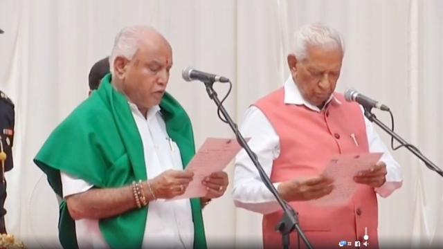 Karnataka Governor Vajubhai Vala swears in BJP's BS Yeddyruppa as Chief Minister