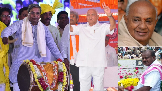 Congress leader and Karnataka Chief Minister Siddaramaiah (left); BJP leader BS Yeddyurappa (centre); JD(S) chief HD Deve Gowda (top right); Deve Gowda's son HD Kumaraswamy