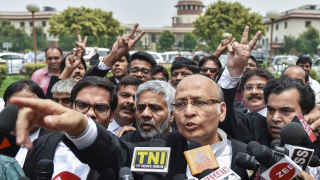 Senior Congress leader and Advocate Abhishek Singhvi addresses the media after a hearing in Karnataka government formation case, at Supreme Court in New Delhi, on Friday. The Supreme Court ordered a floor test to be conducted in the Karnataka Assembly on Saturday for BJP's B S Yeddyurappa, who was sworn-in as Chief Minister, to prove his majority.