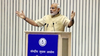A file photo of PM Narendra Modi is speaking at the inauguration of 10th Annual Convention-2015 of the Central Information Commission. He has skipped attending the Convention since