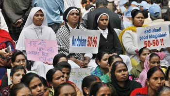 A file picture of activists demanding the passing of the Women's Reservation Bill during a demonstration in Delhi