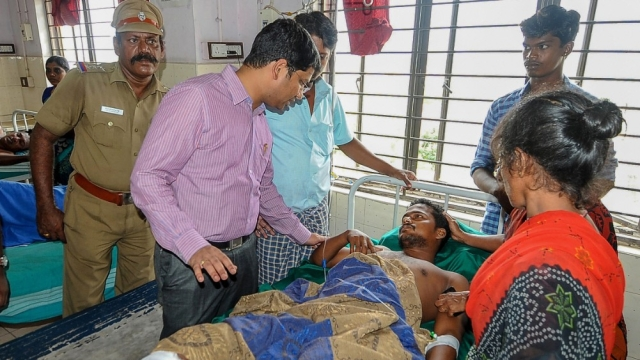 Tuticorin collector N Venkatesh visits government hospital on Wednesday, where the injured are bring treated following police firing which killed 11 people demanding the closure of Vedanta's Sterlite Copper unit, in Thoothukudi, Tamil Nadu on Wednesday, May 23