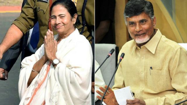 File photo of West Bengal Chief Minister Mamata Banerjee and her Andhra Pradesh counterpart N. Chandrababu Naidu