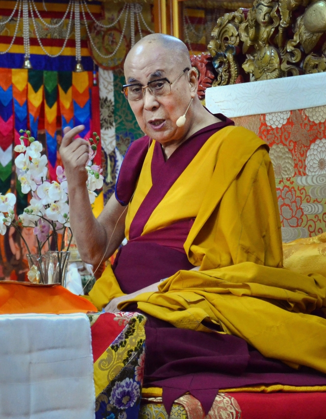 Tibetan spiritual leader Dalai Lama gives a  speech ahead of the Tibetan sacred month 'Saka Dawa' in Dharamshala on Wednesday. The holy month of 'Saka Dawa' takes place in the fourth Tibetan month, which in 2018 begins on May 16 and ends on June 13.