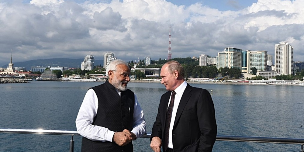 A mere photo-op? PM Modi poses with Russian President Vladimir Putin during his visit to Sochi on Monday.