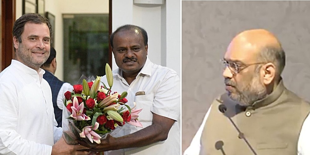 Congress President Rahul Gandhi meets with JD(S) leader HD Kumaraswamy, who is set to lead a Congress-JDS alliance government in Karnataka (left); BJP President Amit Shah