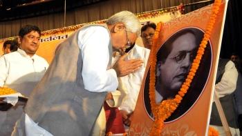 Bihar Chief Minister Nitish Kumar during a programme organised by Bihar Mahadalit Vikas Mission on the eve of B R Ambedkar's birth anniversary in Patna