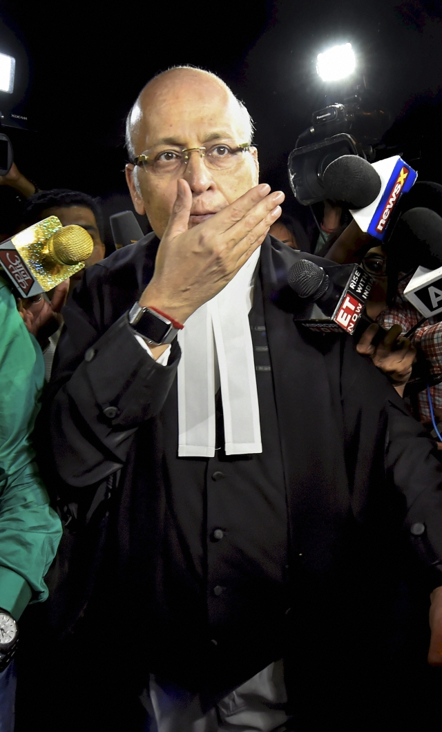 Congress leader and  lawyer Abhishek Manu Singhvi arrives at the Supreme Court for the hearing of Congress & JD(S) petition challenging Karnataka Governor's decision to invite BJP for forming government in the state .