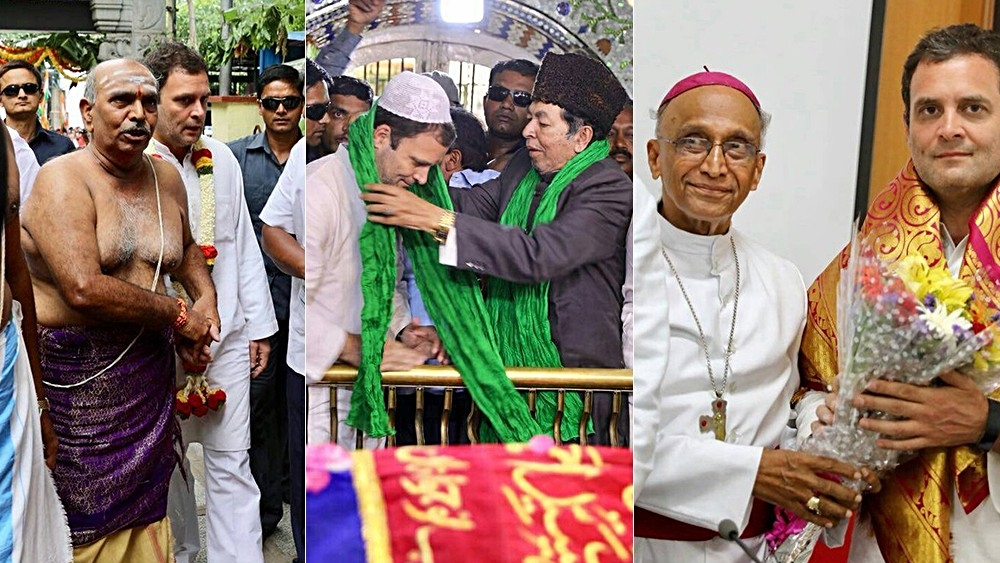 Congress President Rahul Gandhi visiting Dodda Ganapathi Temple,  Hazrat Tawakkal Mastan Shah Dargah and Bishop's house in Bengaluru