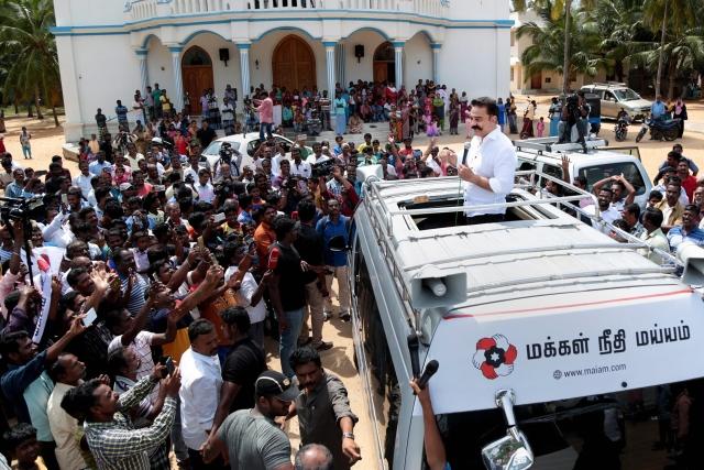 Makkal Needhi Maiam (MNM) President and actor Kamal Haasan addresses a rally in Kanyakumari on Wednesday