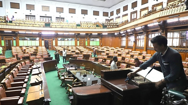 Preparations for the floor test in the Karnataka Assembly in Bengaluru in May 18, 2018. The JD(S) and Congress came together in a post-poll alliance in Karnataka and defeated the BJP in the crucial trust vote on May 18 in the Karnataka Assembly