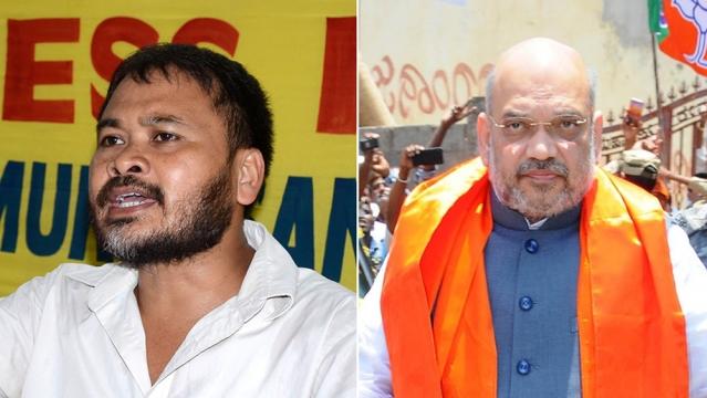 File photos os Krishak Mukti Sangram Samiti leader and RTI activist Akhil Gogoi; and BJP president Amit Shah