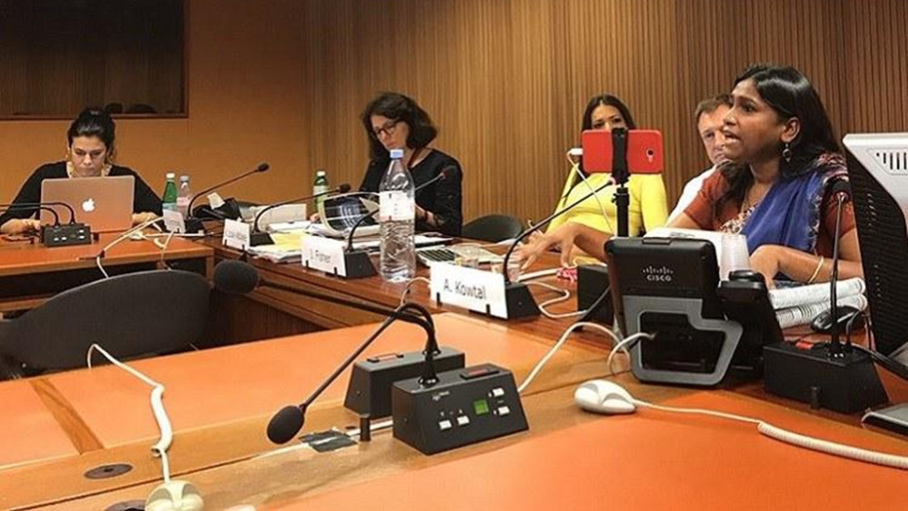 AIDMAM's Asha Kotwal speaks on rising impunity for violence against Dalit women, at the UNHRC in Geneva