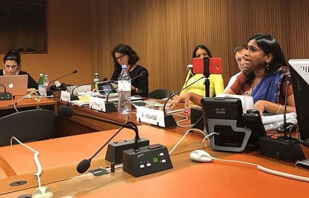 AIDMAM's Asha Kotwal speaks on rising impunity for violence against Dalit women, at the UNHRC in Geneva