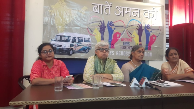 Shabnam Hashmi (second from left) of India Inclusive and Annie Raja (second from right), Secretary of National Federation of Indian Women during the launch of 'Baatein Aman ki' at IWPC, New Delhi