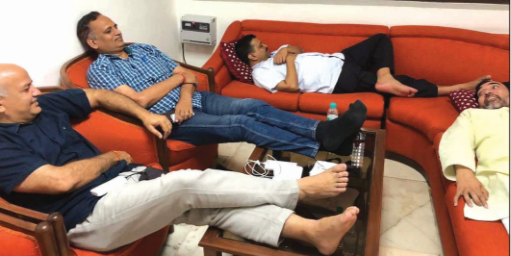 File photo of CM Arvind Kejriwal and his cabinet colleagues at L-G office