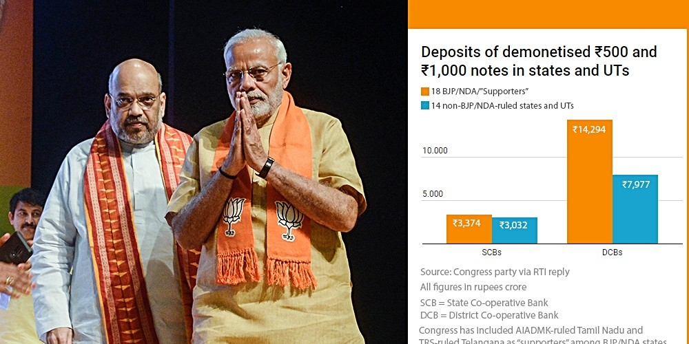 """File photo of Prime Minister Narendra Modi and BJP National President Amit Shah; chart comparing deposits of demonetised ₹500 and ₹1,000 notes in state co-operative banks and district co-operatives banks in NDA/BJP and """"supporter""""-ruled states (as per Congress party), and non-BJP/NDA-ruled states"""